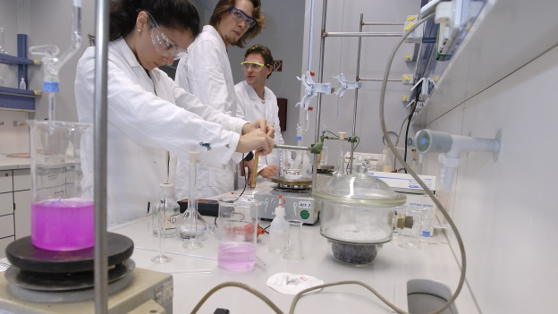 Students in practical training in chemistry